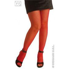 Ladies Red Fishnet Tights Sexy Moulin Rouge Halloween Fancy Dress Accessory