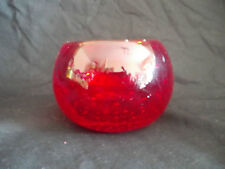VINTAGE RED GLASS BLOWN BOWL