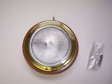 "Dome Light 5"" Stamped Brass Teak Base 400206 Sea-Dog Line 12VDC/15W"