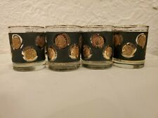 MCM Vintage Libbey Black Textured Drinking Glasses w/ Gold Coin Designs SET OF 8