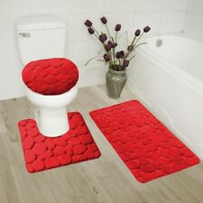 ROCK RED 3PC EMBOSSED BATHROOM SET RUG CONTOUR MAT TOILET LID COVER BATHMAT