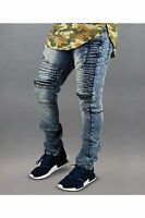 Mens ripped Skinny Stretch Biker Zipper pants Jeans distressed jeans top quality