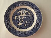 "Vintage Blue Willow Underglaze Willow Ware by Royal China 9 1/4"" Dinner Plate"