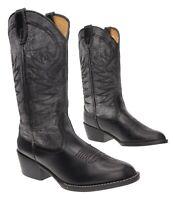 HONCHOS Cowboy Boots 9.5 M Mens Black Faux Leather Western Rodeo Boot Biker Work