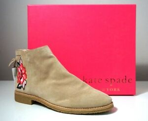 Kate Spade New York Bellville Floral Embroidered Suede Desert Booties Size 9.5