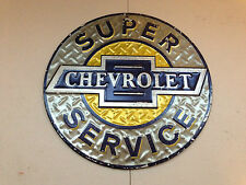 "Official Chevrolet Super Service Silver, Blue & Gold 12"" Repro. Metal Tin Sign"