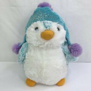 "Aurora Penguin Plush in Winter Pom Pom Hat 9"" Stuffed Animal Sparkle"