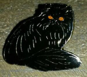 Cat Black posing with orange eyes Pin