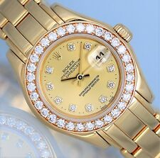Rolex Ladies PEARLMASTER 29mm Yellow Gold Champagne Diamonds 69298