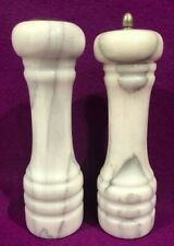 Pair Set Salt & Pepper Shaker Mill Grinder  7 in tall Grey Marble Natural Stone