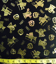 HALLOWEEN GOLD FOIL GHOSTS DEVIL ON BLACK 100% POLYESTER  FABRIC   26X43 INCHES