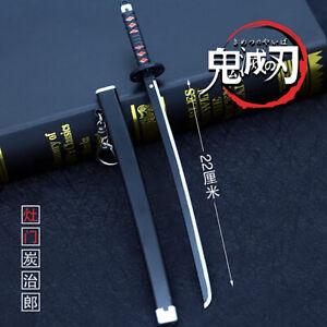 TOY 1/5 1:5 weapon sword Demon Slayer japan Samurai Metal Katana 22cm BLACK 日轮刀