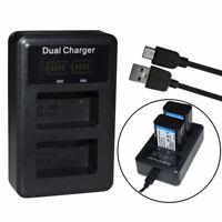 USB Dual LP-E6 Battery Charger for Canon EOS 5D Mark II Mark III Mark IV 60D 80D