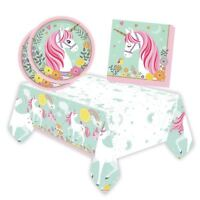 25 PCS Girls Birthday Party Picnic Unicorn Tableware Plates Napkins Table cloth
