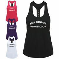 May Contain Prosecco Ladies Strap Back Vest Funny Wine Gym Workout Exercise Top