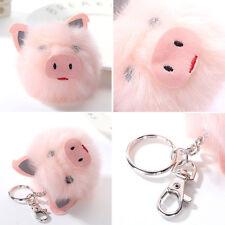 Lovely Pig Ball Key Pendant Rabbit Fur Ball Key Chains Car Bag Plush Accessories