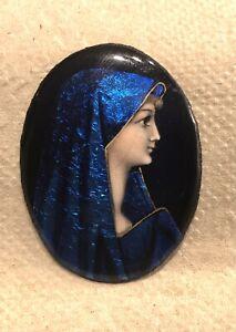 Antique French Limoges Enamel Copper Miniature Lady Portrait For Plaque / Brooch