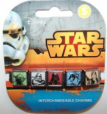 Disney Star Wars SM Interchangeable 5 Charm Bracelet Yoda Vader Skywalker NEW