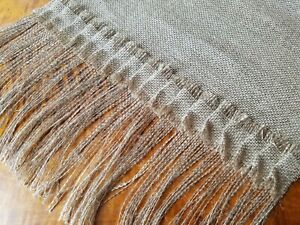 """Natural Burlap Table Runner with 6"""" Fringed Edges and 2"""" Pleated Burlap Trim"""