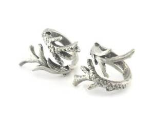 Branches Ring Adjustable Antique Silver Plated Brass 4017