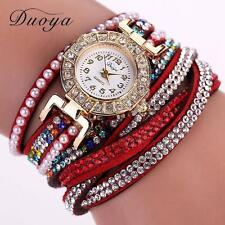 Fashion Women Pearl Crystal Diamond Bracelet Watch Quartz Girl Dress Wrist Watch