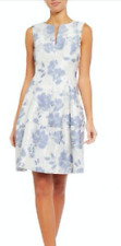 Eliza J Printed Sleeveless Fit And Flare Blue White Floral Dress Size 8 $188