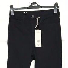 M&S MARKS s10 Noir Hi taille évasée Skinny Jeans Stretch Fête 70 S Retro BNWT