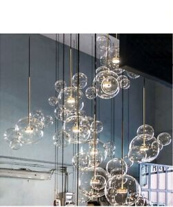 Modern Clear Bubble Chandelier Glass Globe Pendant Lamp 3 Light 14 Glass Ball