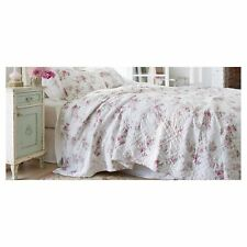 SIMPLY SHABBY CHIC WHITE BLOOMING BLOSSOMS KING QUILT (KING QUILT ONLY) PINK