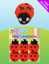 6x Mini Felt Red ladybirds ladybugs Craft Card  toppers Easter Party Decorations