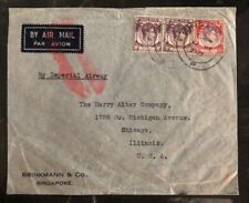 1935 Singapore Malaya Airmail Cover To Chicago IL USA Via Imperial Airway