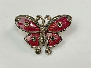 Sterling Silver & Maroon Enamel Butterfly Pin With Marcasite Accents
