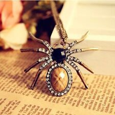 Charm Retro Spider Bead Necklace Dangle Pendant Crystal Resin Long Chain