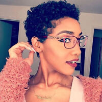 Women Short Afro Curly Black Wigs Pixie Cut Human Hair Wig for African American