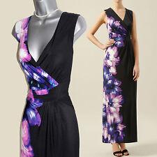 KALIKO John Lewis Black Jersey Floral Placement Print V Neck Maxi Dress 14 £119