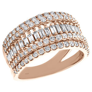 14K Rose Gold Round & Baguette Diamond Domed Cluster Cocktail Ring 1.10 Ct.