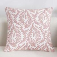 Floral Paisley Pink White Square Scandinavian embroidery cushion cover  18'