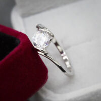 Elegant Rings for Women 925 Silver Round Cut White Sapphire Ring Size 6-10