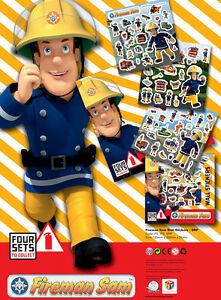 Fireman Sam Stickers Bedroom 2 x A5 Sheets Of Self Adhesive Wall Stickers