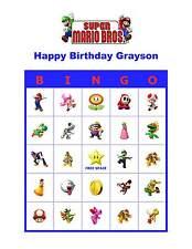 Super Mario Bros. Brothers Nintendo Birthday Party Game Bingo Cards