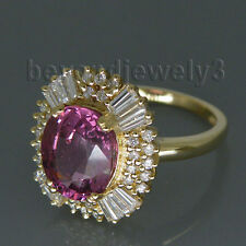 Solid 14Kt Yellow Gold Diamond Pink Tourmaline Engagement Wedding Gemstone Ring