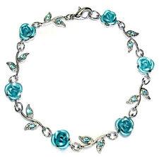 w Swarovski Crystal ~Aqua Blue ROSE FLOWER~ Floral Bridal Wedding Bracelet Xmas