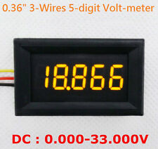 """4-1/2"""" 4.5-Digit Volt meter Panel Counter Yellow LED DC 0 to 33V 3-Wires Display"""