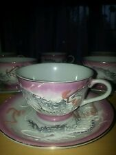 18 pc.Pink Japanese Moriage Dragonware Tea Cups & Saucers etc Geisha Lithophane