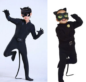 Kids Boy Black Cat Noir Cosplay Costume Fancy Jumpsuit / Elastic Stretch Pajamas