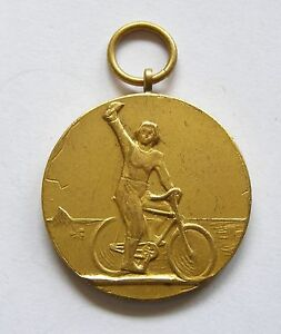 f800 Romania Cycling Championship 1930's Gilt Arts Medal Sports by Gerscovici