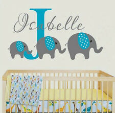 Custom Name Wall Decal Cute Polka Dots Elephant Sticker Design for Nursery Room