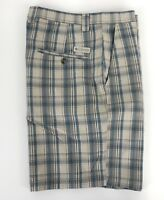 Columbia Mens Size 36 Tan/Teal Plaid Flat Front Cotton Casual Shorts I-94