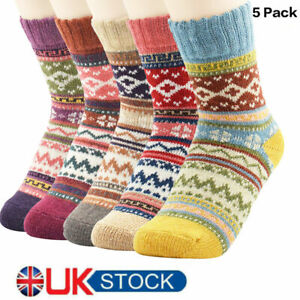 5 Pairs Womens Thick Socks Wool Thermal Warm Knitting Nordic Ladies Socks Winter