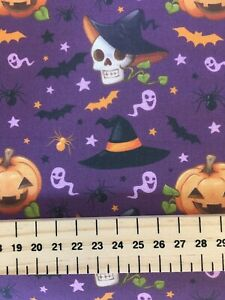 100% Cotton Fabric Rose & Hubble Halloween Pumpkin Witch Hats Bats 150cm Wide